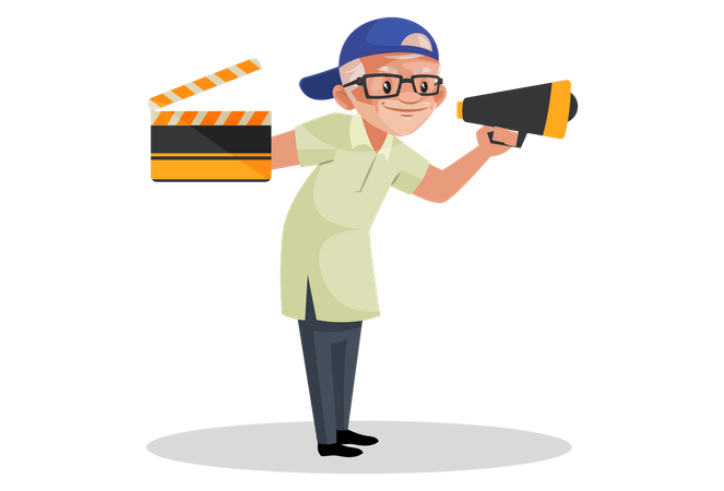 Director holding movie clap and megaphone Illustration