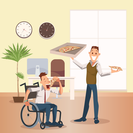 Disable employee eating pizza with co-worker Illustration