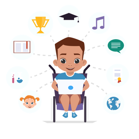 Disabled Boy in a wheelchair is studying via the Internet Illustration