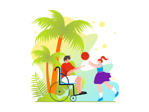 Disabled father playing ball with his daughter Illustration