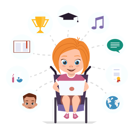 Disabled girl in a wheelchair is studying via the Internet Illustration