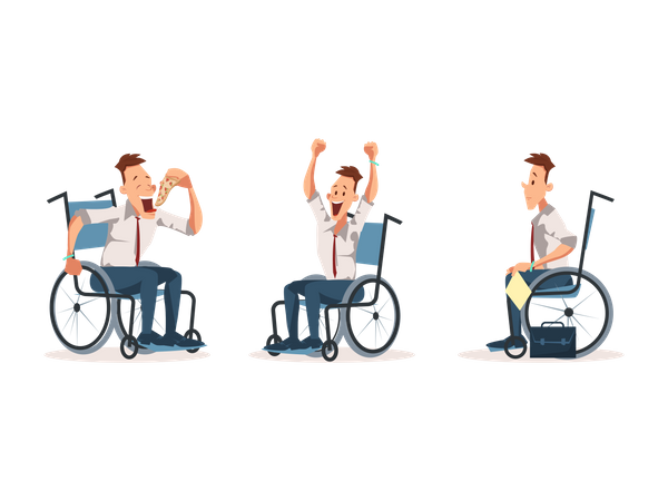 Disabled Wheelchair Coworker Express Emotion Illustration