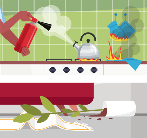Disastrous home occurrences Illustration
