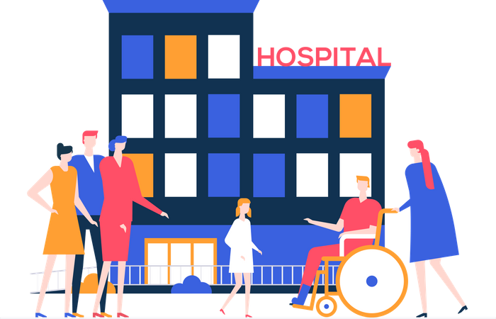 Discharge from the hospital Illustration