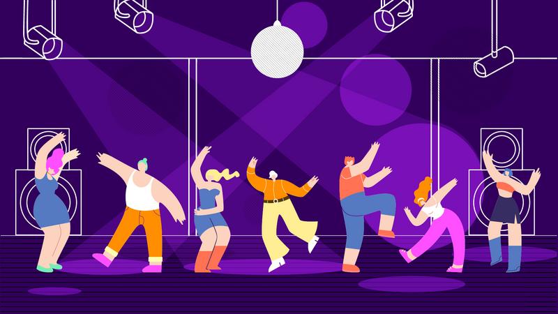 Disco People at Nightclub Illustration