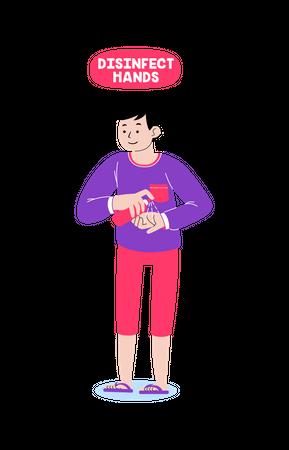 Disinfect hands Illustration