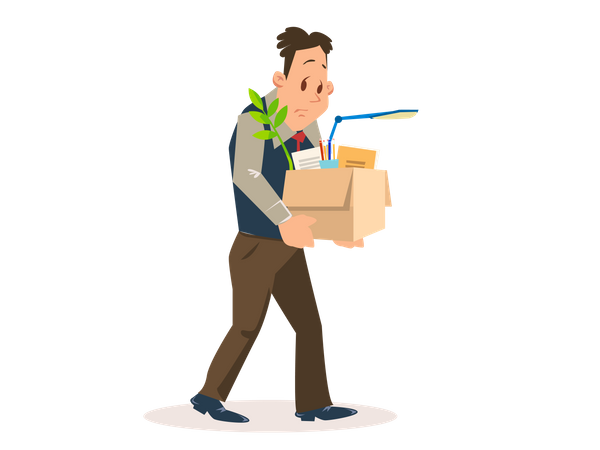 Dismissed Man Carrying Box with Belongings Illustration
