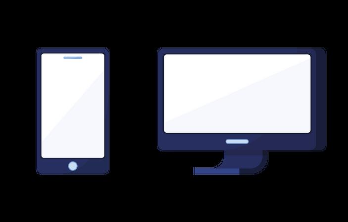 Display and Smartphone Illustration