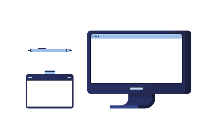 Display and tablet with touch pen Illustration