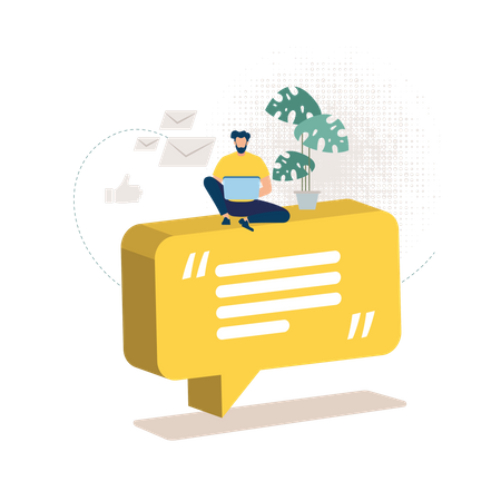 Distant Work and Education Mailing Illustration