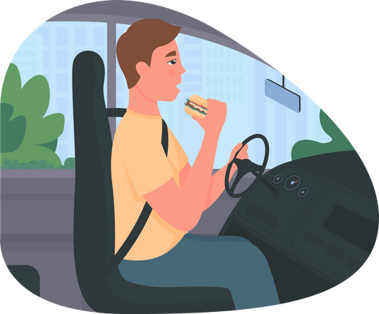 Distracted driving Illustration