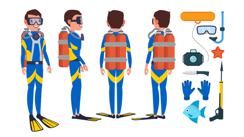 Diver Diving At The Bottom Of The Sea Illustration