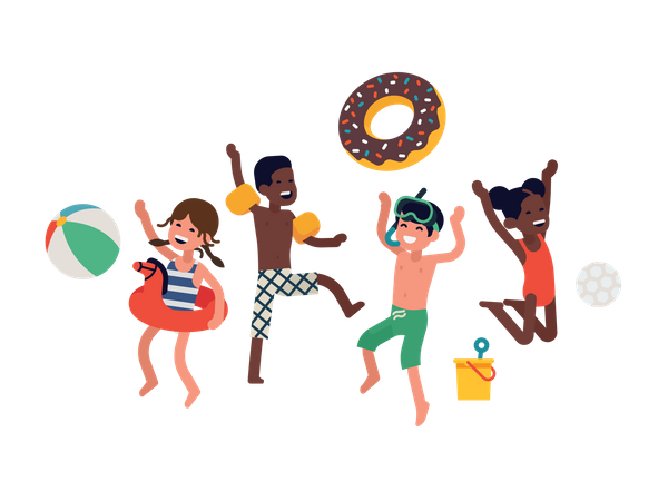 Diverse group of happy cheerful kids jumping and laughing wearing swimsuits and waterside Illustration