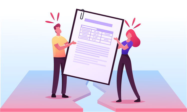 Divorced Husband and Wife Pulling Marriage Contract during Property Division Process Illustration