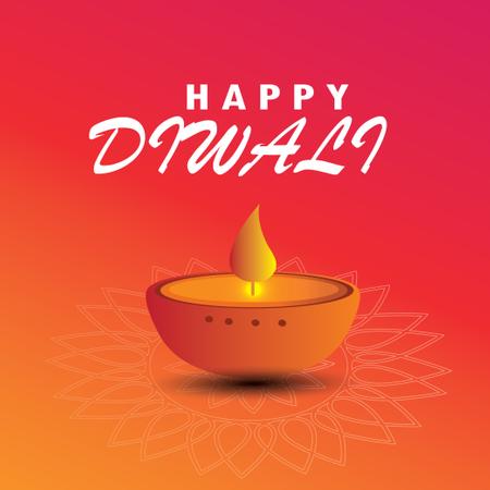 Diwali Festival Greeting Card With Beautiful Rangoli And Diya Background Illustration