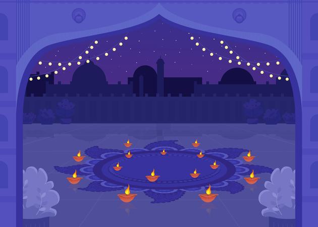 Diya candles for Diwali celebration Illustration