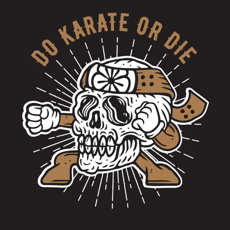 Do Karate or Die Skull Illustration
