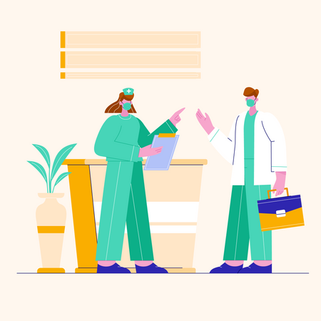 Doctor and nurse working in clinic Illustration