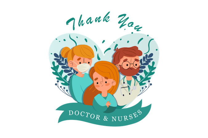 Doctor and Nurses taking care of corona patients Illustration