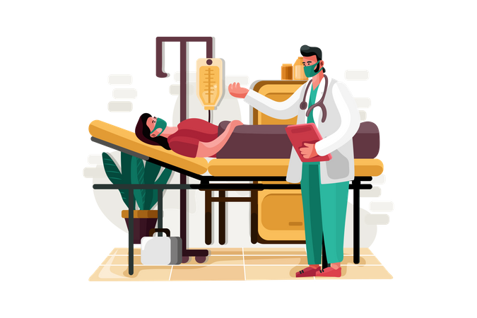 Doctor asking about health of admitted patient Illustration