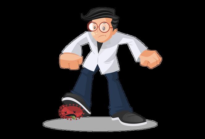 Doctor Beating Coronavirus Illustration