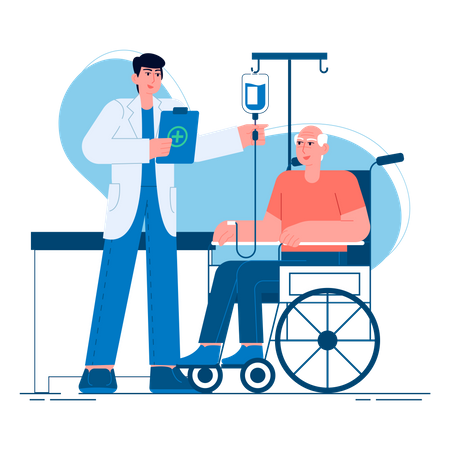 Doctor caring elder man Illustration