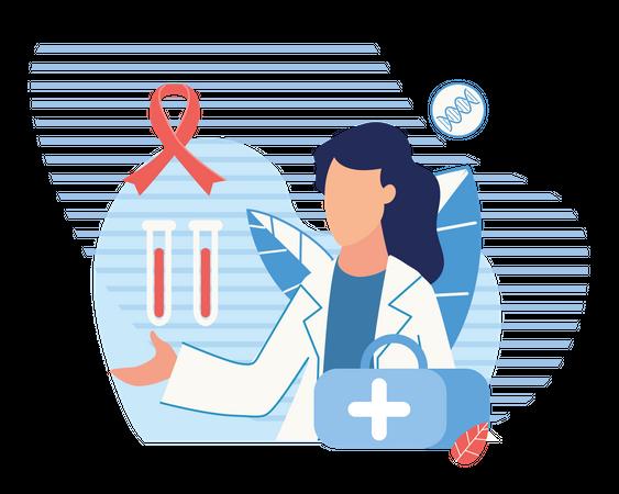 Doctor checking blood sample Illustration