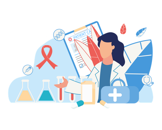 Doctor checking blood sample of breast cancer patient Illustration