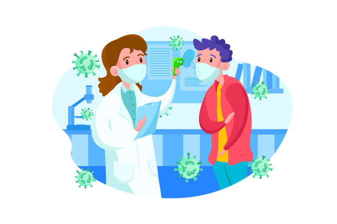 Doctor checking body temperature Illustration