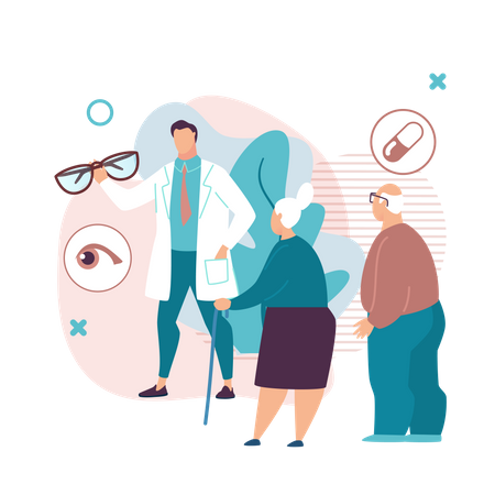 Doctor Checking Eye Report of old couple Illustration