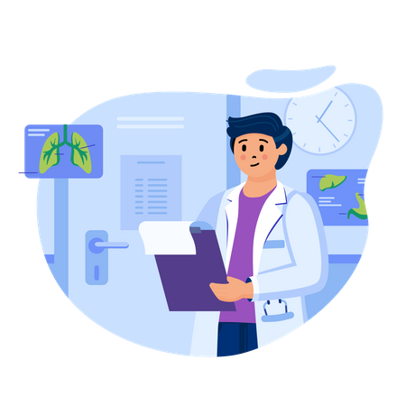 Doctor checking lungs report Illustration