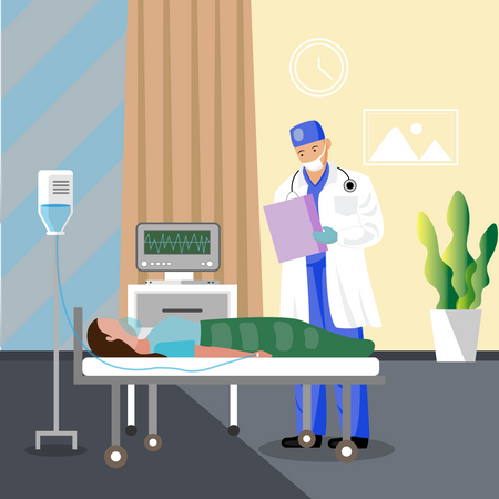 Doctor checking patient Illustration