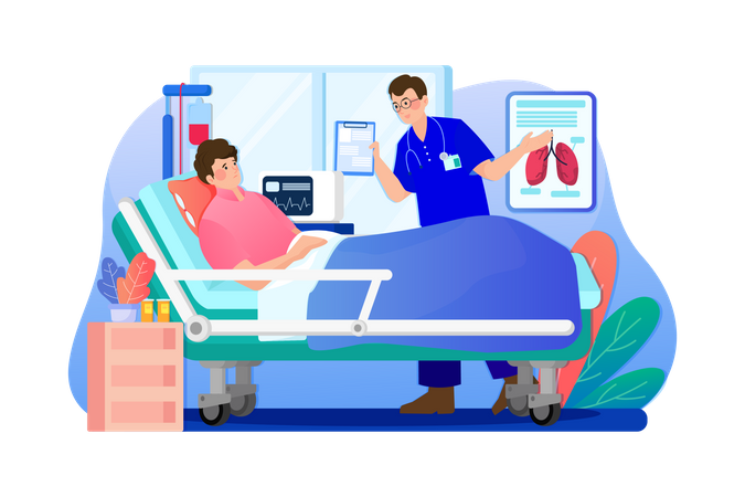 Doctor checking patient in a hospital Illustration