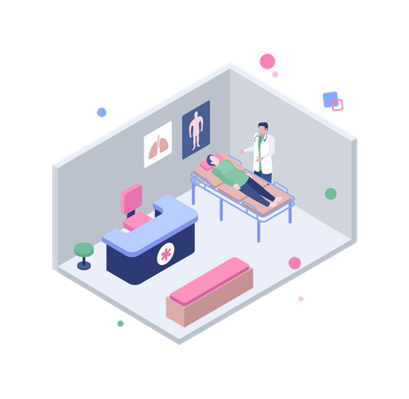 Doctor checking patient in clinic Illustration
