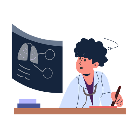 Doctor checking patient lungs Illustration