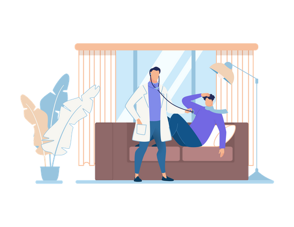 Doctor checking patient with stethoscope at home Illustration