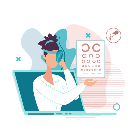 Doctor Checking Vision Online With Vision Chart Illustration