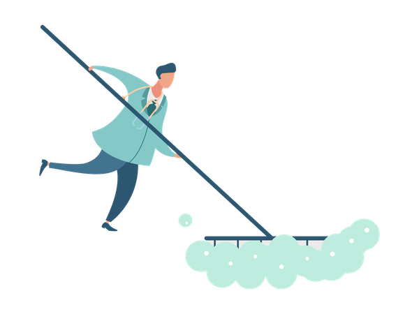 Doctor cleaning floor Illustration