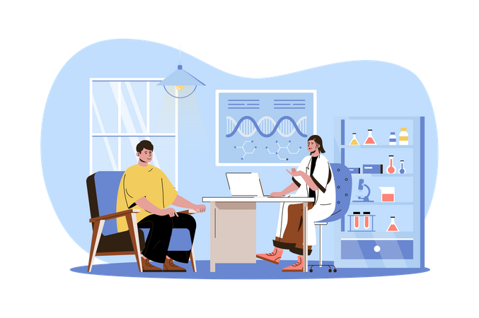 Doctor consults patient in office Illustration