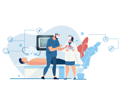 Doctor discussing the patient operation with health checking technology in operation theater Illustration