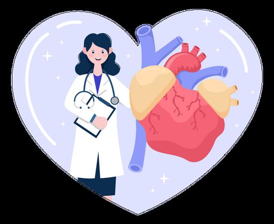 Doctor Doing Heart Checkup Illustration