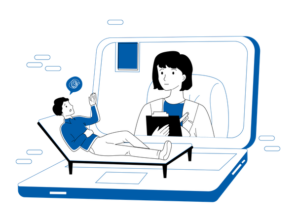 Doctor doing online health checkup Illustration
