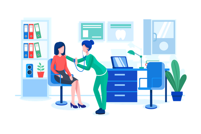 Doctor examine patient in clinic Illustration