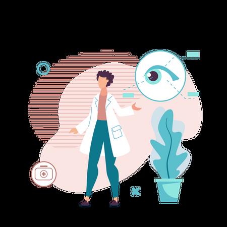 Doctor Explain Eye Anatomy Illustration
