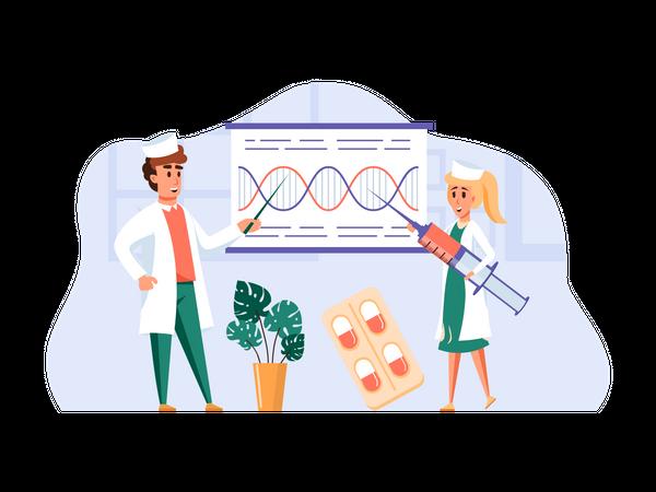 Doctor explaining genetics to fellow doctor Illustration
