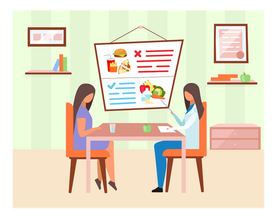 Doctor explaining healthy and harmful food ingredients Illustration