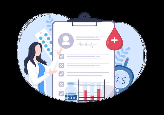 Doctor explaining report card Illustration