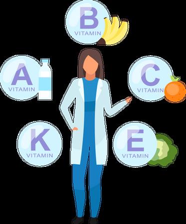 Doctor explaining vitamin sources Illustration