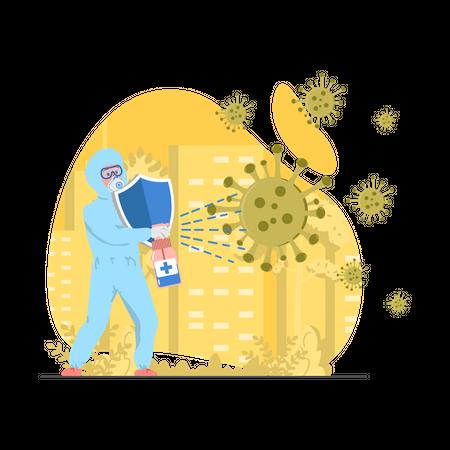 Doctor Fighting with Corona Illustration