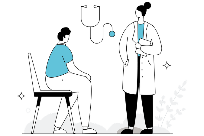 Doctor giving Advice to Patients Illustration